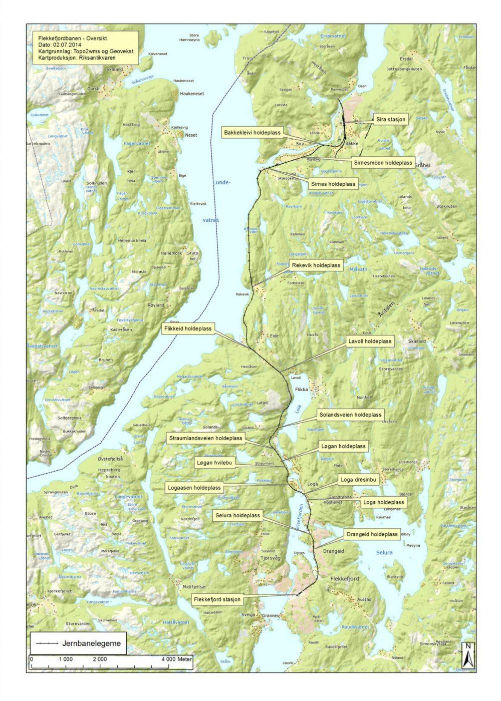 Flekkefjordbanen - Kart